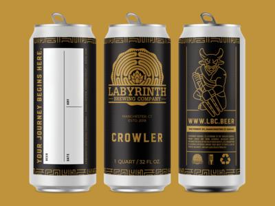 Labyrinth Brewing Company Crowler Label Design