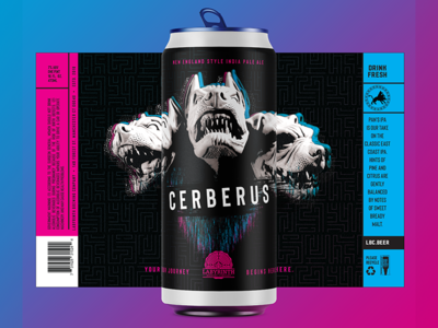 Cerberus IPA 3 dog cerberus graphic design beer beer art beer branding beer label beer label design beer labels branding agency craft beer new england ipa package packaging design mock up packaging packagingdesign package mockup hercules greek gods