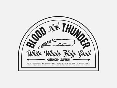 Blood & Thunder Badge Exploration mastodon badgedesign logo logo design badge logo design graphic design badge design badge branding design branding identity identity design whale animal typography type badge hunting lettering vector