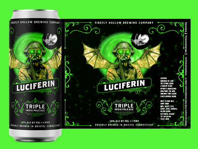Luciferin Triple IPA photoshop graphics graphic  design graphicdesign graphic design product design branding design brand identity brand design brand branding packaging design package design packaging package pack beer branding beer label beer can beer