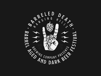 Barreled Death V2 beer can badge logo badge design logo design logo beer branding heavy metal identity design graphic design beer label beer event branding branding design beer art beer logo festival logo death metal heavymetal metal beer  festival