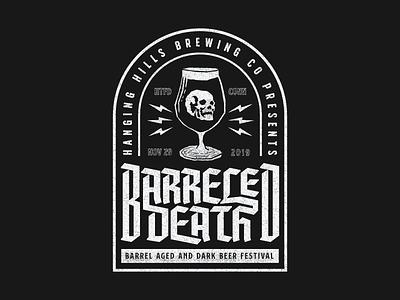 Barreled Death V3 badge logo badge design badgedesign poster design horror skulls logos branding design branding event branding beer branding beer label beer art craft beer stout beer beerfest death metal metal band heavymetal