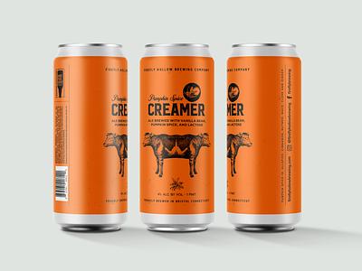 Pumpkin Creamer design graphic design animal cow identitydesign can art packaging mockup packaging design packagingdesign packagingpro packaging branding design branding pumpkin beer beer art beer can beer branding beer label beer