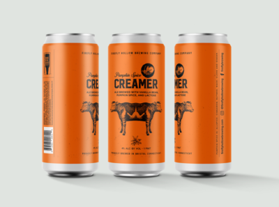 Pumpkin Creamer design graphic design animal cow identitydesign can art packaging mockup packaging design packagingdesign packagingpro packaging branding design branding pumpkin beer beer art beer can beer branding beer label beer