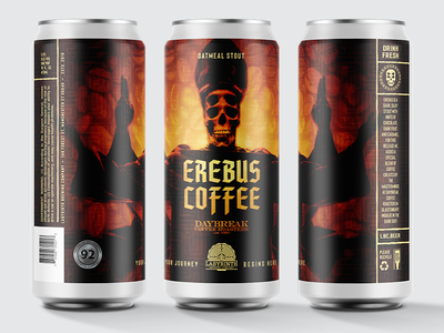 Erebus Coffee Stout branding design branding graphic design badge logo logo design logo packaging design package design packaging package beer branding beer label beer art beer can beer