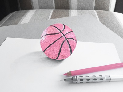 Hello Dribbble! first post pink realism graphic design colored pencil sketch basketball dribbble invite dribbble drawing