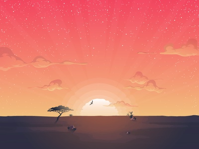 Africa sun orange savannah landscape king lion the lion king illustration sunset sunrise africa