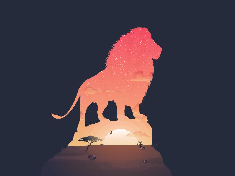 Africa - The King sky sun landscape illustration sunrise sunset africa silhouette king lion