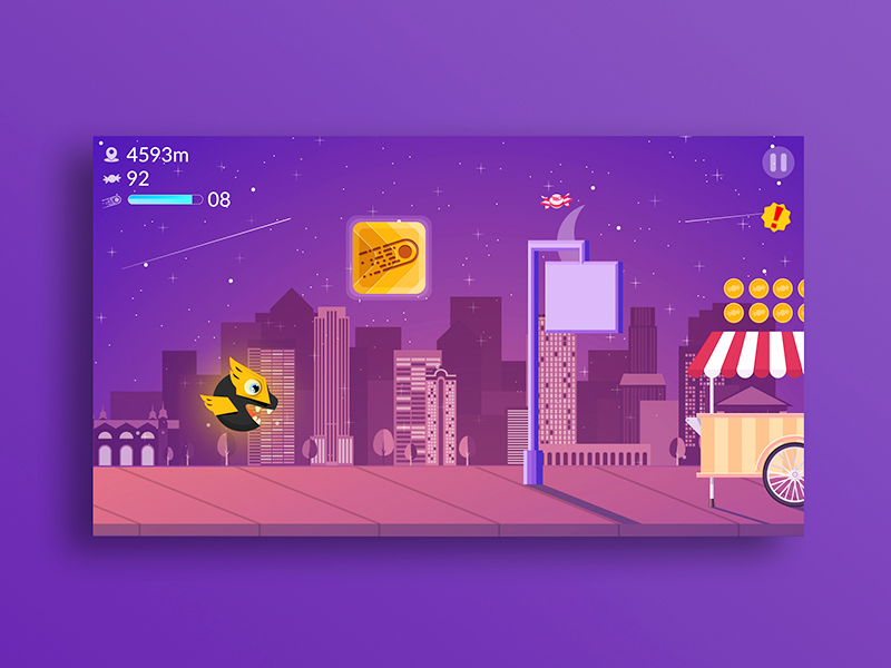 Sweet Hero! illustration night hero sidescroll app survive purple candies candy mobile game