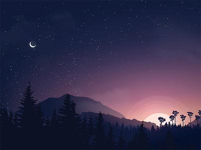 Good Morning! vector illustrator morning night star sun mountain sunrise good morning illustration
