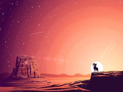 The Goat - Las Vegas las vegas sun sunset landscape illustration goat nevada desert