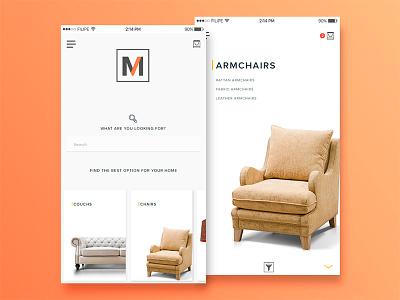 Furniture Shop - Concept iphone apple ios couchs sofa armchair chair mobile app ecommerce shop furniture