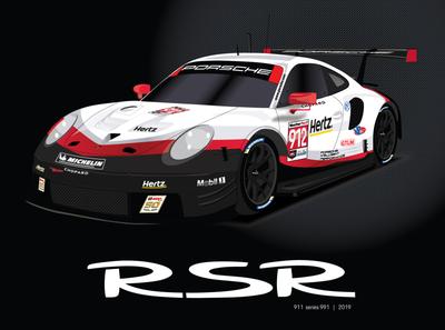 Porsche 911 (series 991) RSR Poster porsche porsche 911 racing vector automotive illustration