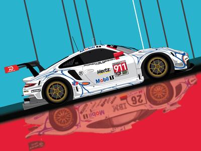 2018 Petit Le Mans Poster for Porsche