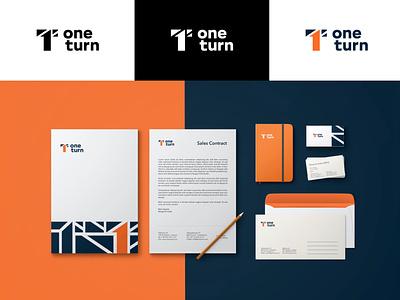 Branding for One Turn mockup businesscard letterhead branding strategy orange identity design logodesign logotype logo design identity logo branding
