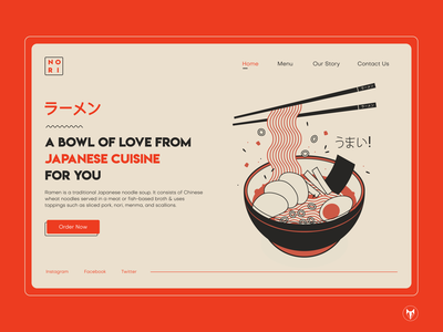 Japanese Restaurant Hero Section Concept restaurant ichiraku naruto website japanese cuisine noodle typography japanese food japanese ramen web logo design branding ui illustration