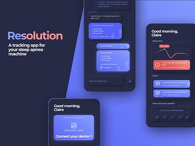 Resolution - A Sleep Apnea Tracking Application figma minimal dark dark ui dark theme dark mode neumorphic neumorphism app branding ux ui design