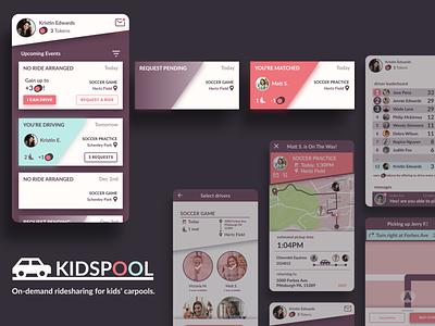 KidsPool - On-demand Ridesharing for Kids' Carpools gamified userinterface uidesigns uiux uidesign mobile app design mobile app glow flat cards mobile card gradient dark ui dark theme ui figma design branding app