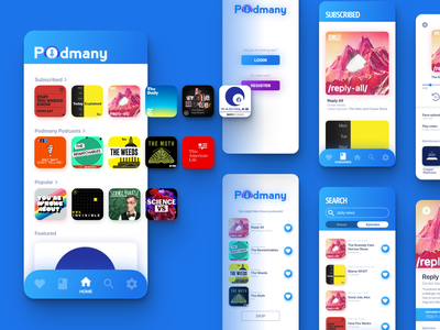 Podmany Podcast App uidesign gradient figma design mobile app design mobile mobile ui podcast
