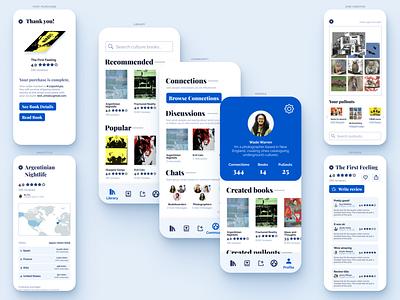 Zine Creator App ui design reading purchase connections map creator profile page books reviews community user interface white app app design mobile ui iphone mobile app uiux ui profile
