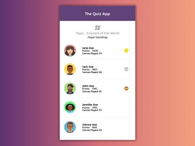 Daily UI #019 - Leaderboard quiz creative minimal color ux simple design mobile dailyui100 dailyui ui