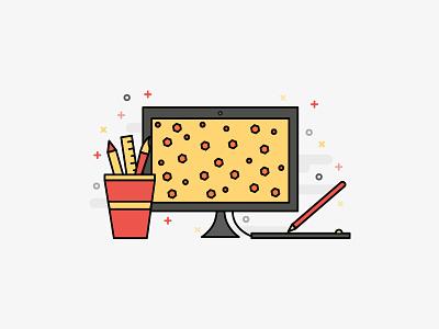 Submit to Us - Illustration desk icon visual illustration design pen stationery pattern tablet desktop computer