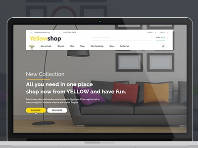Yellow-Multi-Purpose eCommerce PSD. yellow shop fashion ecommerce corporate clean business