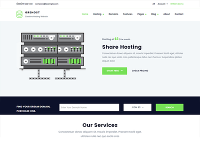 GREHOST - WHMCS & HTML Responsive Web Hosting Template web hosting vps technology responsive reseller modern hosting domain search domain dedicated hosting company cloud