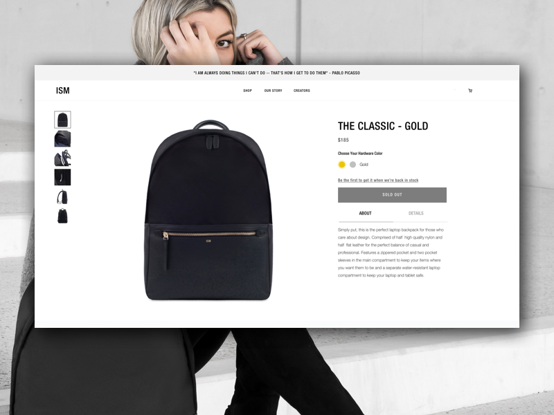 v1 of our Product Page: The Classic by ISM fashion brand ui design ux design website design web design industrial design product design ui ux
