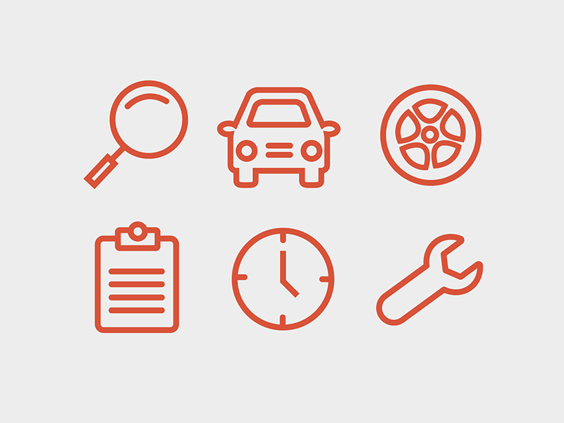Auto Icons clock tire wheel clipboard magnify glass car illustration illustrator car icons auto icons icons