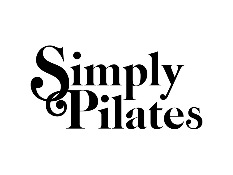 Simply Pilates lettering typography type identity branding serif caslon logo redesign logo