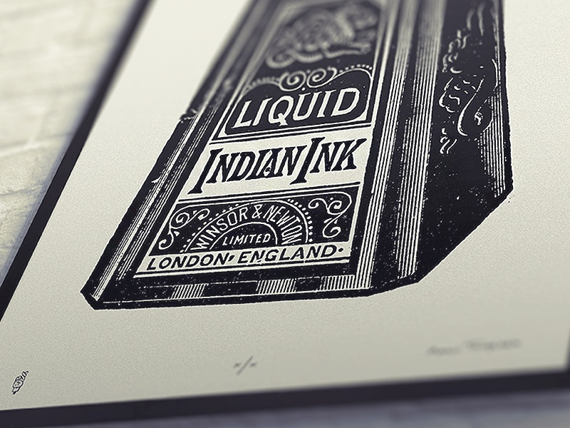 Indian Ink Print adam trageser illustration indian ink typography vintage lettering two left co silk screen fine art victorian print for sale etching