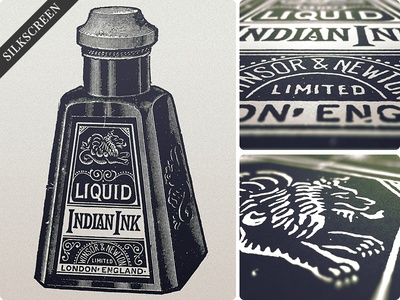 Indian Print typography lettering vintage print illustration for sale ink bottle poster type silkscreen hand done retro