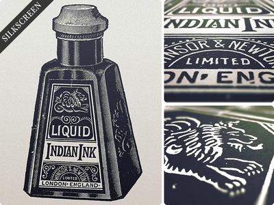 Indian Print typography lettering vintage print illustration for sale ink bottle poster type silkscreen hand done retro