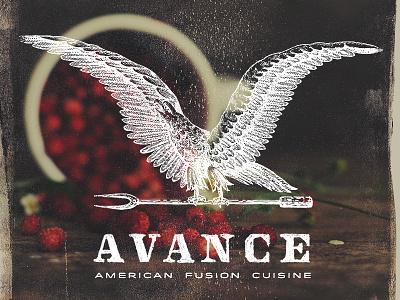Avance etching food fz media design inc adam trageser logo retro american typography illustration lettering avance hand type