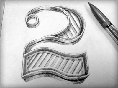 2 Dank typography hand lettering pencil 2 shiny 3d obsession got carried away numeral number spoke card hand done hand lettering adam trageser