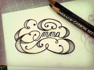 Emma hand swash lettering sketch hand done emma jane austen pencil sweet typography adam trageser
