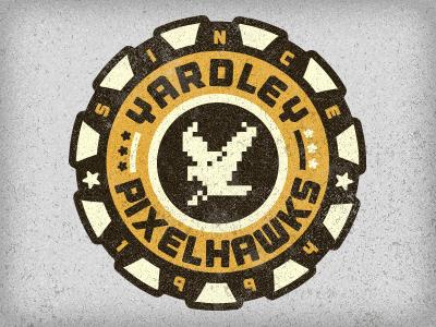 Pixelhawks logo design bike pennsylvania 215 pa hawk pixel icon patch niose pixelhawks bird badge adam trageser