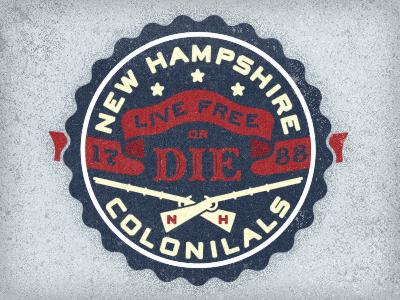 New Hampshire Colonials motto states logo icon musket nh design new hampshire colonials colonial america die patriotic vintage adam trageser