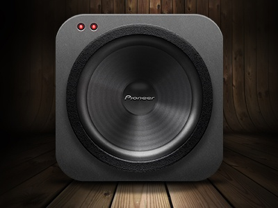 Pioneer Woofer Icon speaker icon bass playoff kaboom woofer pioneer photorealistic led 3d realistic lights ios sound texture juicy photoshop philadelphia philly adam trageser