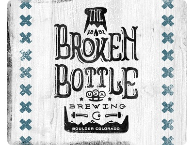 The Broken Bottle Brewing Co co hand lettering hammer hand done alcohol american bottle rocky mountains mountains old x logo hand beer brewery colorado boulder brass knuckles usa broken old school vintage branding classic two-left two left adam trageser type brand