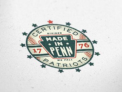 Made In Penn vintage old badge american pa texture 1776 colonial star two left logo baseball sign america type typography patch emblem sport philadelphia pennsylvania keystone illustration patriotic usa americana signage lettering adam trageser retro