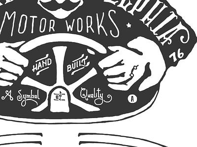 Philadelphia Motor Works pa philadelphia typography design motor lettering works motor works vintage logo two left race racecar racer signage sign 1776 hand illustration hand done font america shirt old texture liberty bell american adam trageser type retro