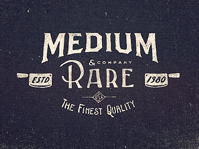 Medium Rare Wordmark lettering vintage type typography logo design texture old hand knife butcher clothing usa quality word mark logotype illustration adam trageser two left two-left sign branding print retro hand done