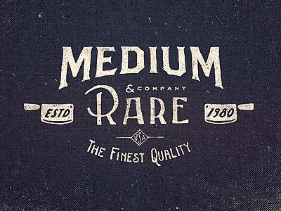 Medium Rare Wordmark lettering vintage type typography logo design texture old hand knife butcher clothing usa quality word mark logotype illustration adam trageser two left two-left sign branding print retro hand done