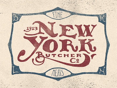 New York Butcher Co type ny texture butcher lettering hand vintage old american typography illustration signage adam trageser two left co new york brooklyn logo swash design victorian screen packaging branding retro hand done