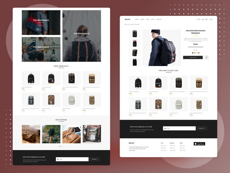 Bagu E-Commerce Home and Product Detail Page