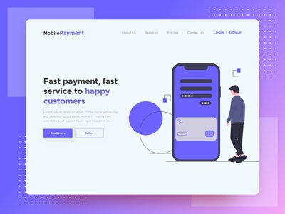 MobilePayment - Hero illustration payment mobile app ui uxdesign hero website uidesign ui  ux