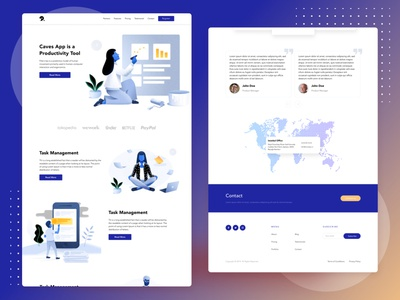 Caves App - Productive Tool Landing Page design illustration productive website ux uiux ui landingpagedesign landingpage