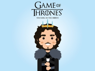 Jon Snow - The King in the North winter is coming jon snow season 6 game of thrones character illustration hbo
